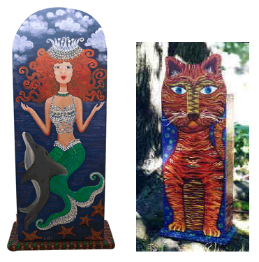 two mini-armoires - a cat and a mermaid