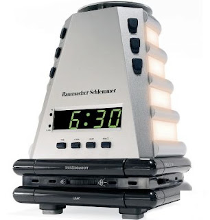 odd-shaped alarm clock with lights along the side