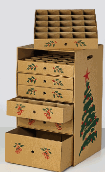 ornament box with 7 cardboard drawers with pictures of bells