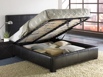 bed with mattress that lifts up to show storage underneath