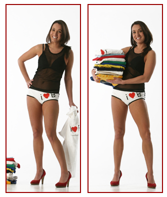 woman wearing undies made from t-shirt