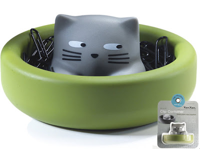 paper clip holder shaped like cat inside a green bowl
