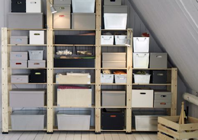 IKEA shelves and containers in an attic