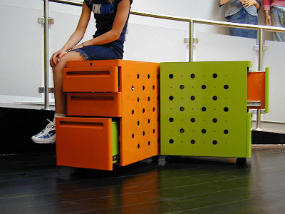 green and orange 2-drawer metal file cabinets