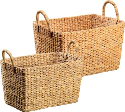 2 water hyacinth rectangular baskets with handles