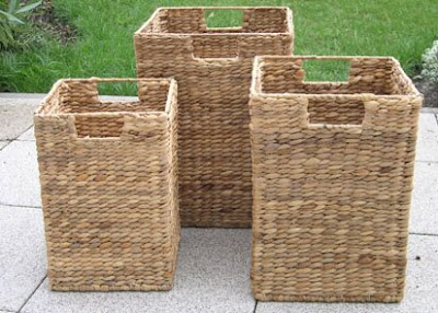 3 tall water hyacinth baskets