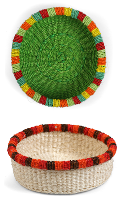 2 baskets, same style, different colors (green and cream)