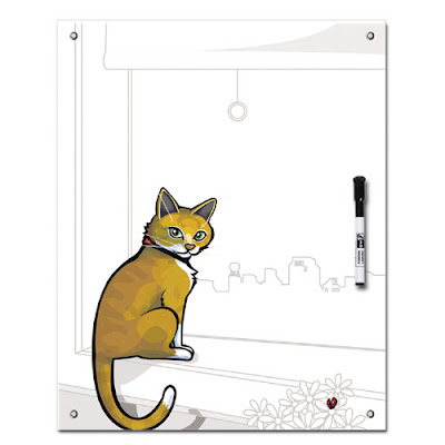 whiteboard with picture of cat
