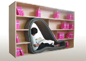 CAVE shelving unit with seating space built into the middle