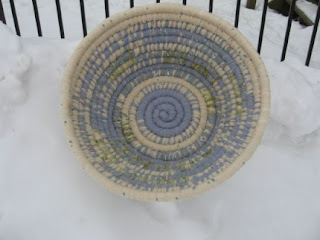 round basket in blue and cream colors