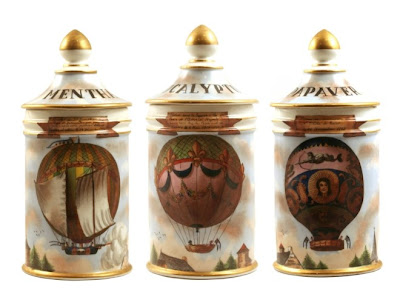 3 antique apothecary jars, porcelain with pictures of hot air balloons