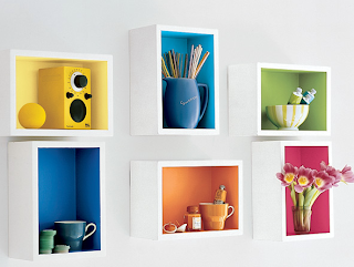 Company Store - rainbow wall shelves