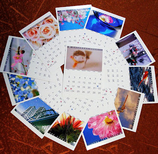 individual month pages from a calendar, arranged in a circle