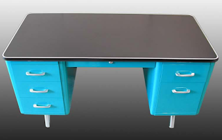 refurbished All-Steel Desk in blue