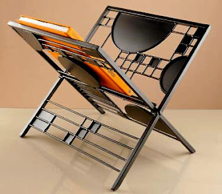 folding magazine rack, Frank Lloyd Wright inspired design