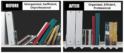 Bookshelf with and without the Shelf Shark holding up binders and CDs