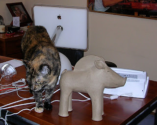 Jeri Dansky's home office - desktop with iMac computer and cat