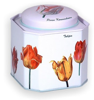 tea tin with tulips