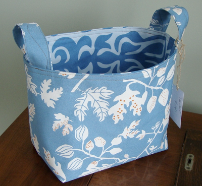 blue fabric bucket