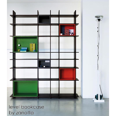 bookcase with splashes of color