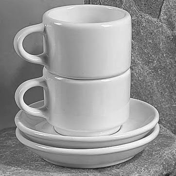 stacking cappuccino cups, white