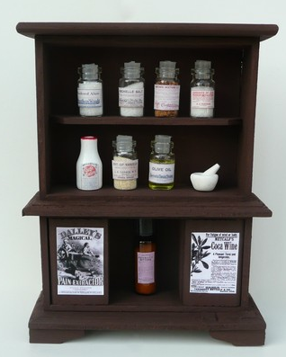 dollhouse miniature cabinet with pharmaceutical remedies