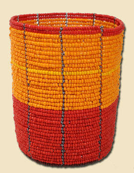 beaded pencil cup, orange and red