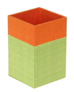 silk-covered pencil cup in orange and green