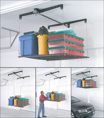 four pictures of garage lift, where platform lowers and rises with a hand crank