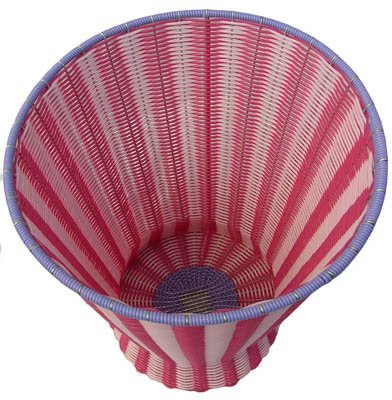 wastebasket in pink and red