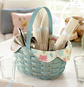 blue basket, holding tableware