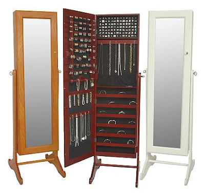 freestanding mirrored jewelry cabinet - three in different colors, one open