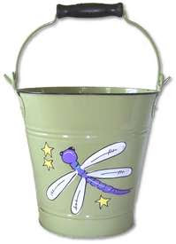 metal bucket with picture of dragonfly