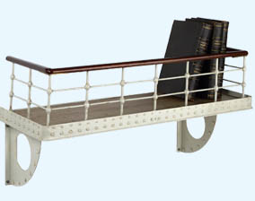 shelf designed to look like upper deck of a steamship
