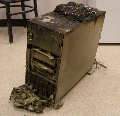computer destroyed in fire