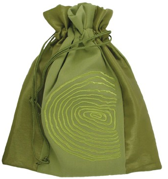 green silk laundry bag