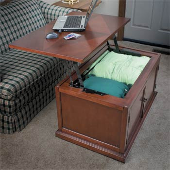 coffee table with hinged top which lifts to provide work surface