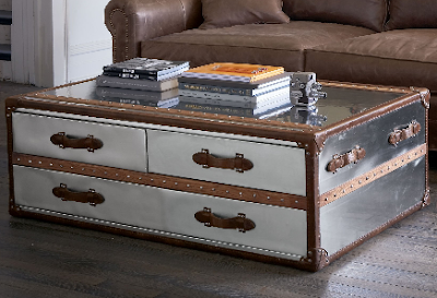 trunk coffee table in stainless steel and leather
