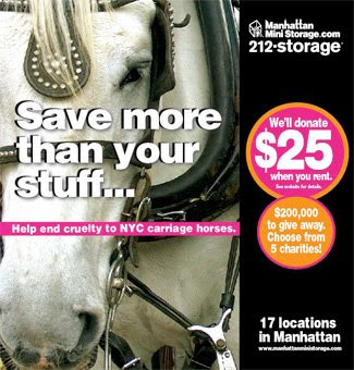 2008 Manhattan mini-storage ads; will give $25 to one of five charities, including one regarding NYC carraige horses