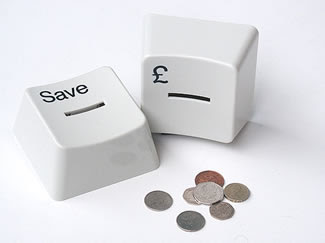 computer key-shaped money boxes - save key and pound sign key