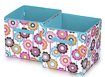 2 flower pattern collapsible fabric storage bins
