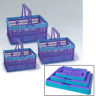 plastic collapsible baskets, 3 sizes, blue and purples