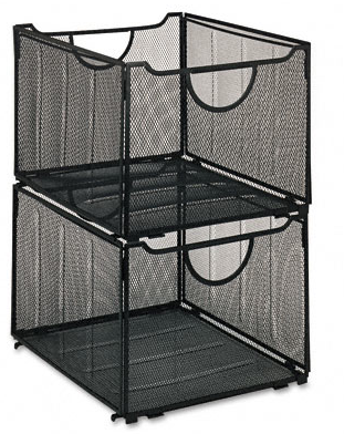 Stackable mesh filing crates