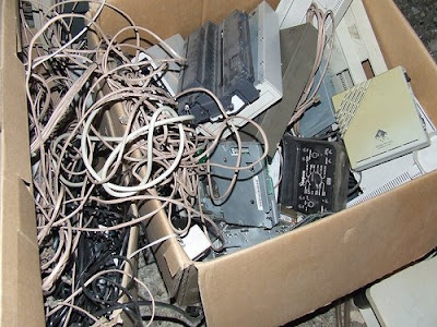 box with cables and other computer junk
