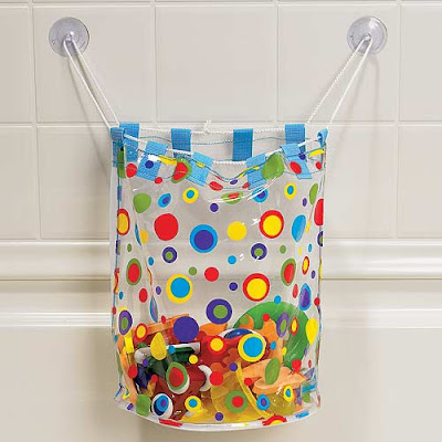 tub toy organizer bag with multi-colored polka dots