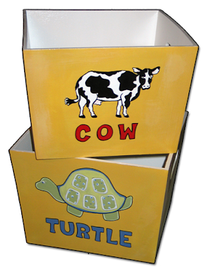 toy bins - one with a cow, one with a turtle