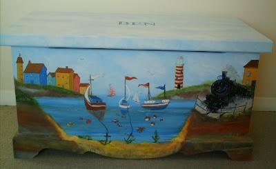 Toy box with harbor scene