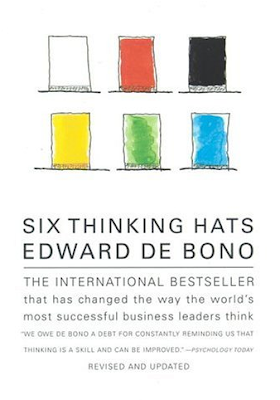 book cover, Six Thinking Hats, by Edward de Bono