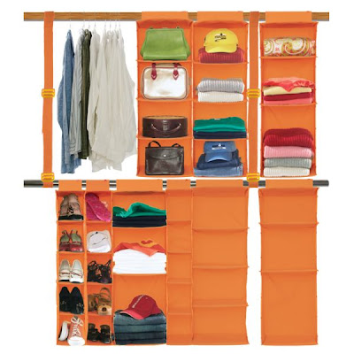 orange closet organizer, hangs from rod, double hang rod built it
