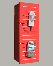 charging station, wall-mounted cabinet, red